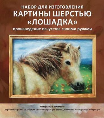 """Изображение Набор для создания картины из шерсти  """"Лошадка"""" 20x30 Артикул: SH018"""